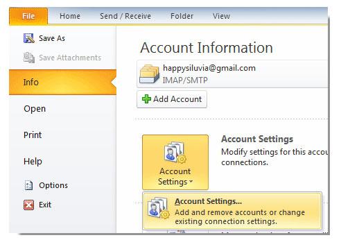 default account information in outlook