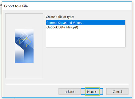 outlook export to csv
