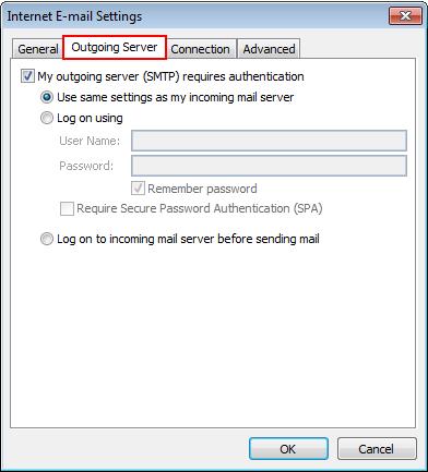 choose outgoing server