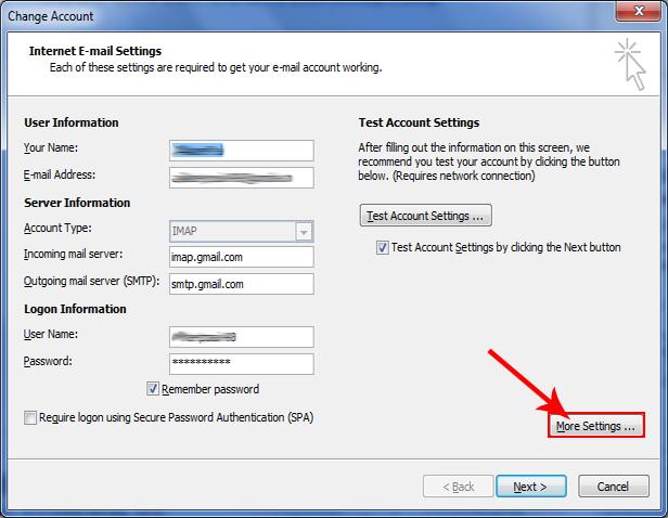 click more settings