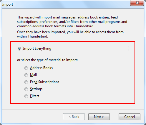 offer two option to import