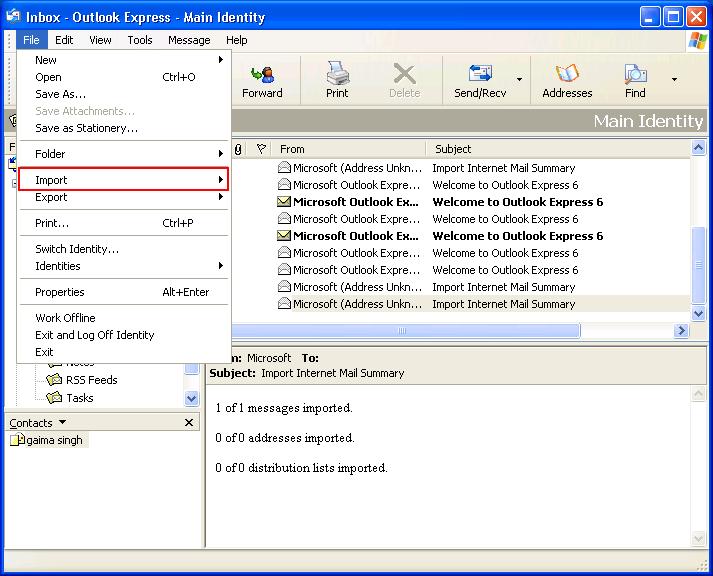 select import tab