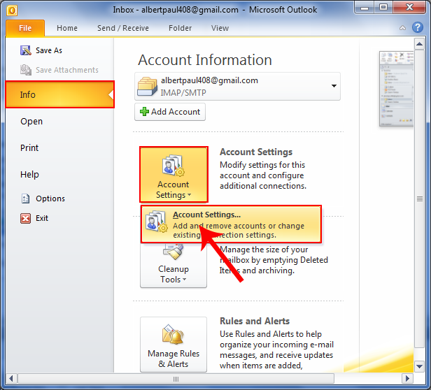 then account settings